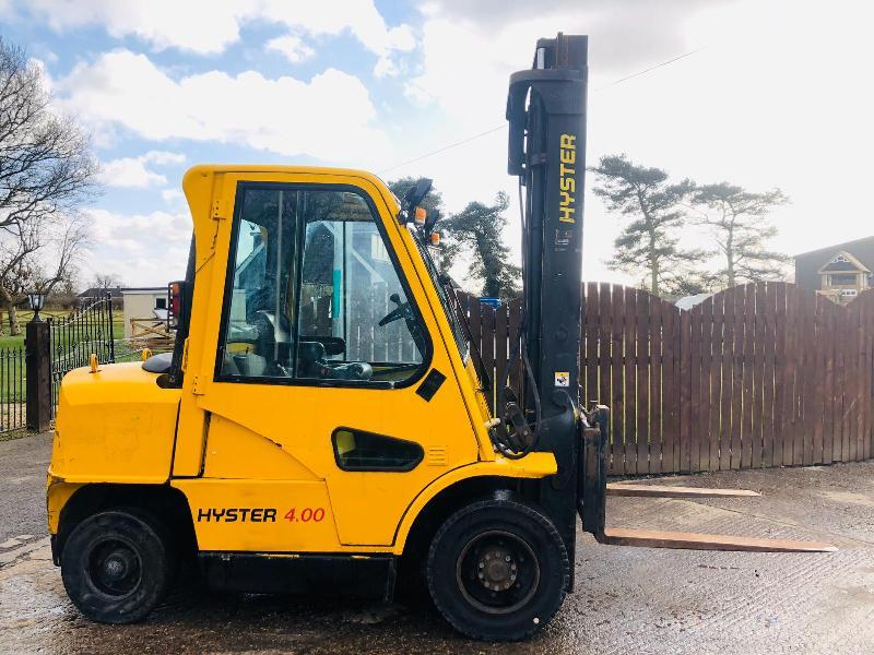 HYSTER 4.00 TON FORKLIFT C/W FULLY GLAZED CABIN * CHOICE OF TWO *