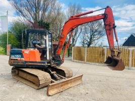 KUBOTA KX151 TRACKED EXCAVATOR C/W WIDE TRACKS * SEE VIDEO *