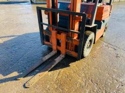 TOYOTA 5FGL15 FORKLIFT C/W 2 STAGE MAST & PALLET TINES