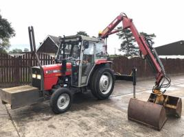 MASSEY FERGUSON 342 TRACTOR C/W HMF CRANE * ONLY 2775 HOURS YEAR 1996