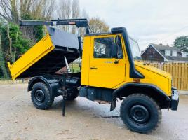 MERCEDES UNIMOG U100L C/W TIPPING BODY & ATLAS AK810 CRANE